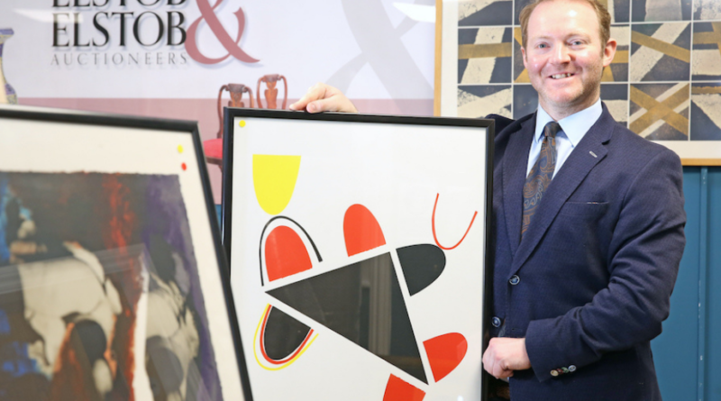 The selection of prints from the Kelpa Studio with auctioneer David Elstob