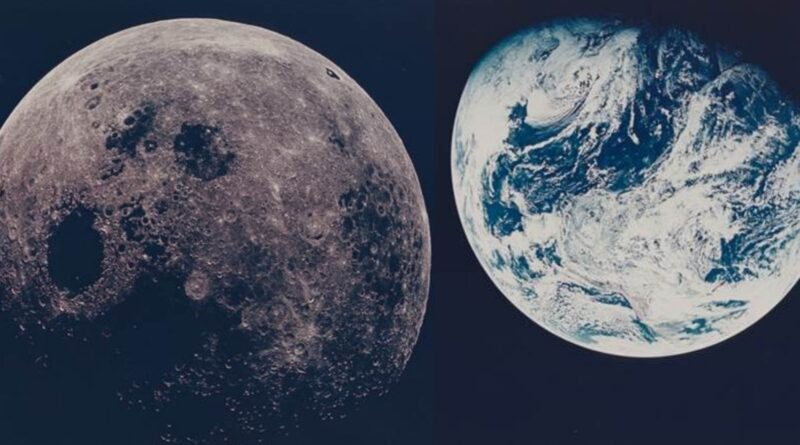 The earth and the moon as seen from Space