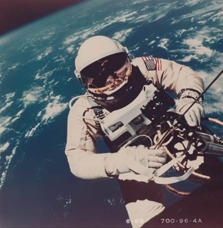 Gemini 4. The first still photograph of a human in space taken during the first American spacewalk