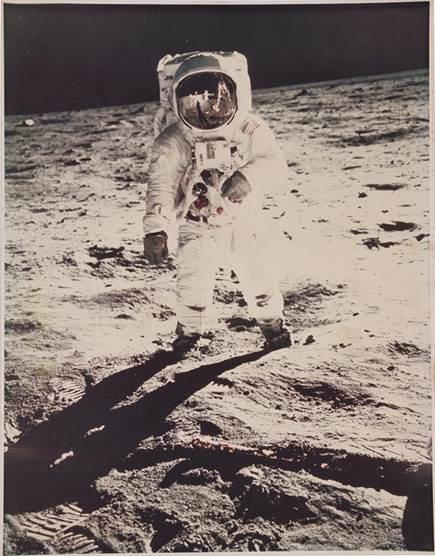 The celebrated Life Magazine cover photo of Buzz Aldrin on the Moon