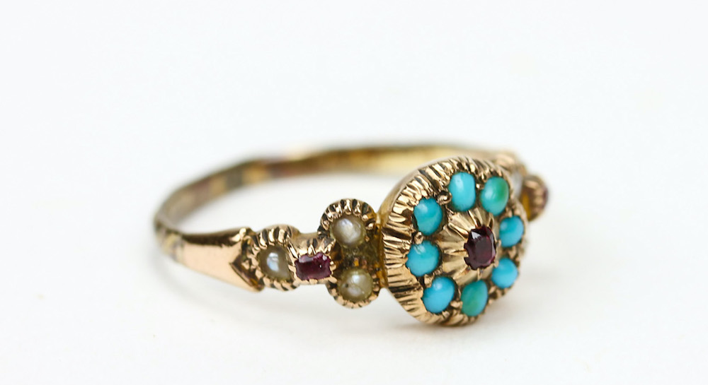 Victorian turquoise, ruby and pearl inset yellow metal ring