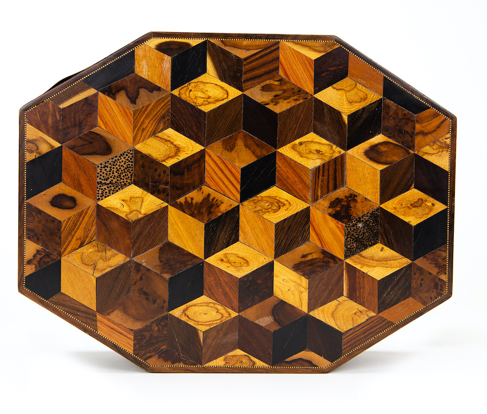 A wood parquetry workbox
