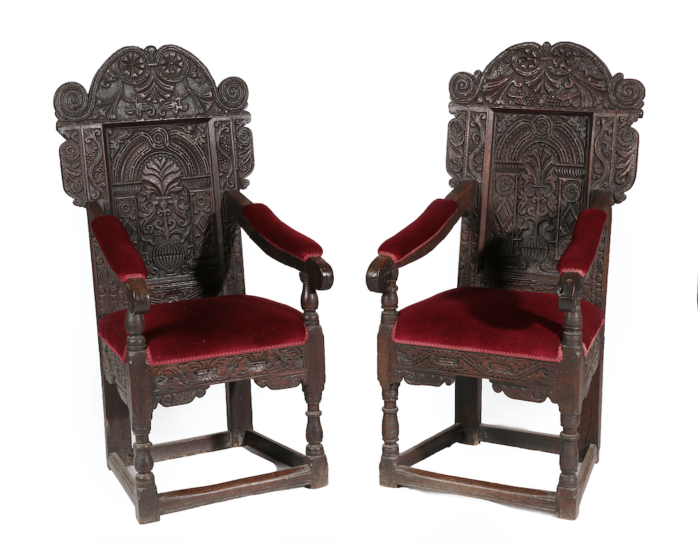 A pair of 17th-century joined oak armchairs