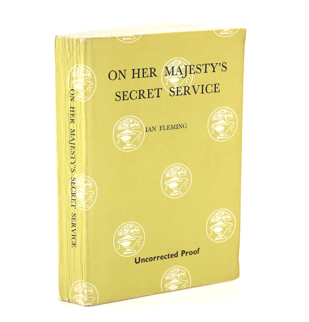 An uncorrected proof of the first edition of 1963 novel On Her Majesty's Secret Service by Ian Fleming