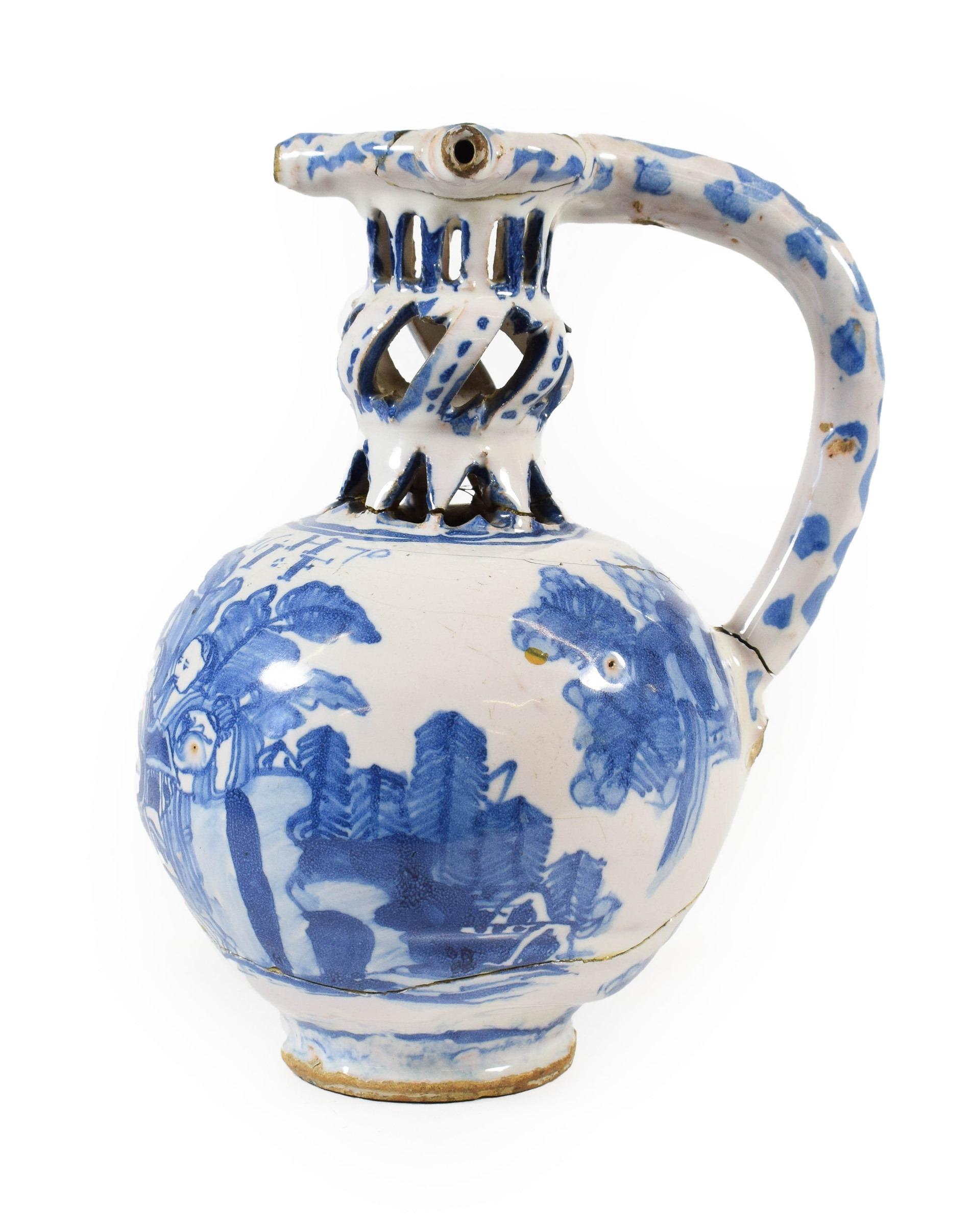 A 17th-century English Delft puzzle jug