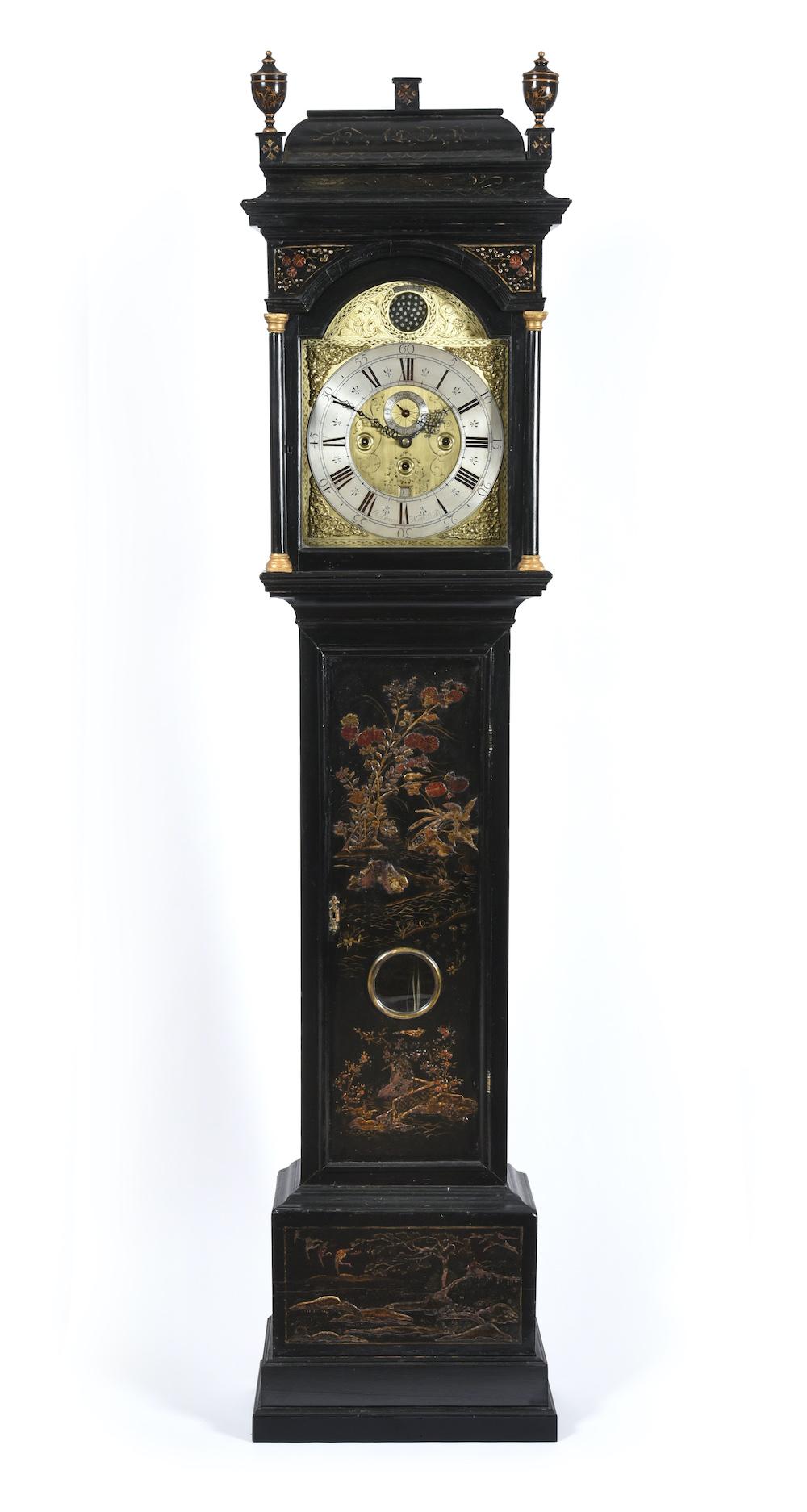 rare Chinoiserie quarter chiming longcase clock, signed Jos Green, North Shields, circa 1730
