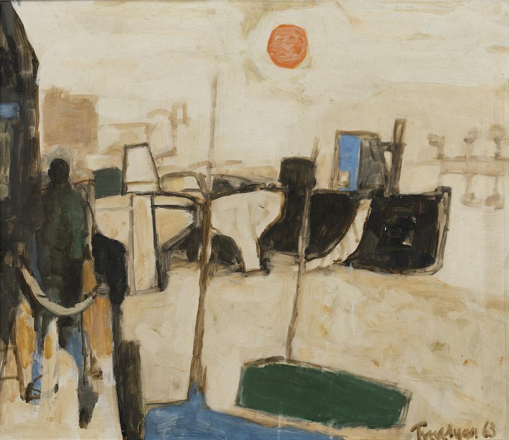 Julian Trevelyan (British 1910-1988) - Barges at Durham Wharf, Hammersmith, 1963