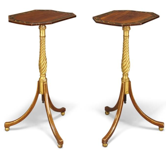 A pair of Regency parcel gilt and painted satinwood occasional tables/pole screens