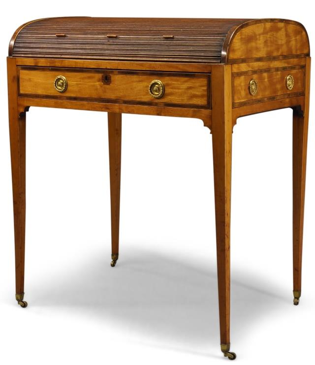 A George III satinwood and crossbanded tambour writing desk