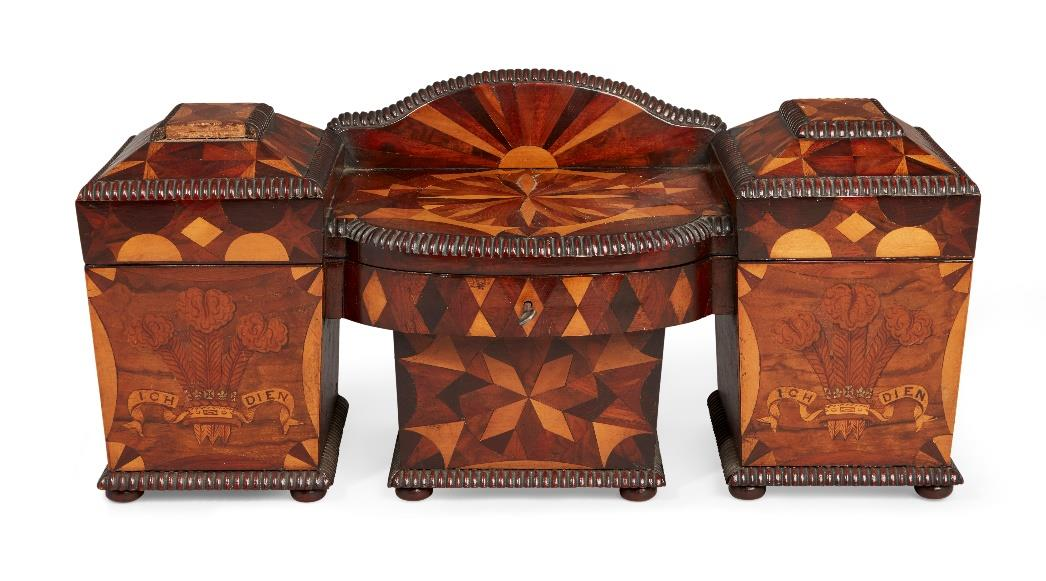 """A rare and large walnut and parquetry """"sideboard"""" tea caddy, 19th century"""