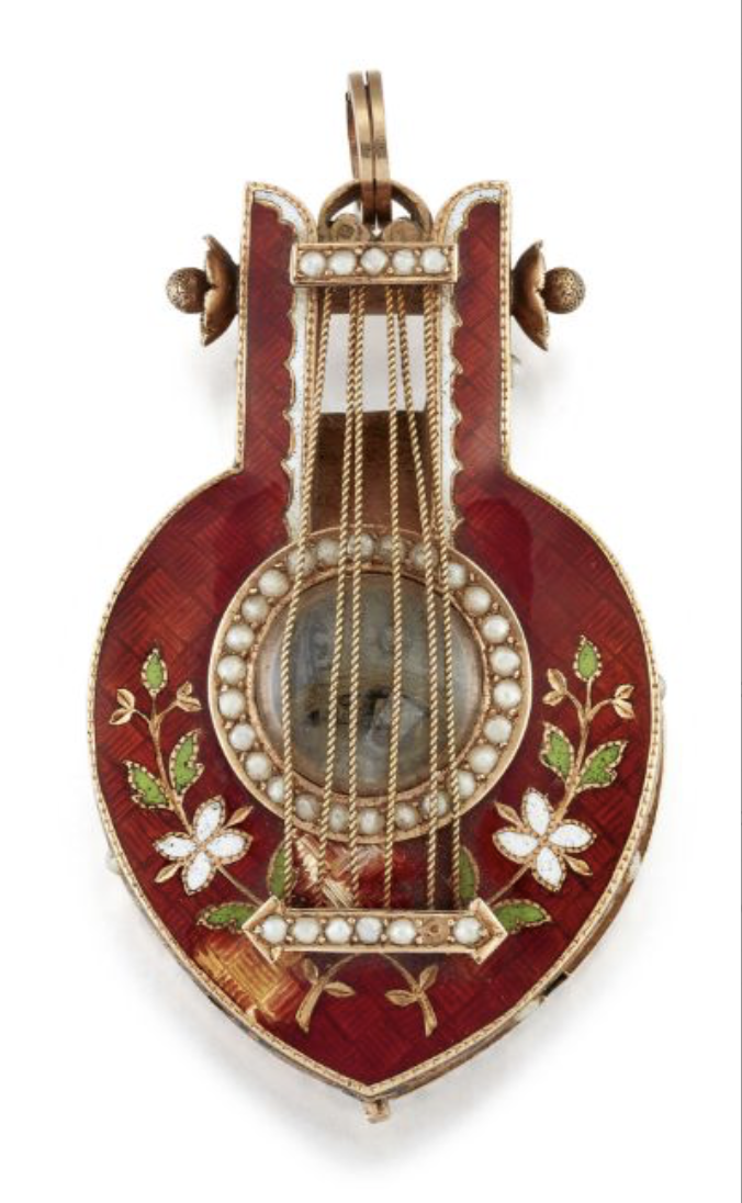 19th-century enamel and seed pearl pendant watch in the shape of a lyre
