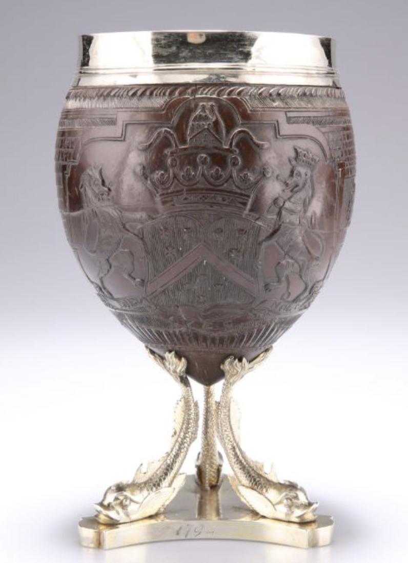 George III silver mounted coconut cupbyJohn Hutson