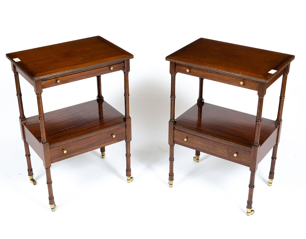 pair of reproduction Georgian style mahogany bedside tables