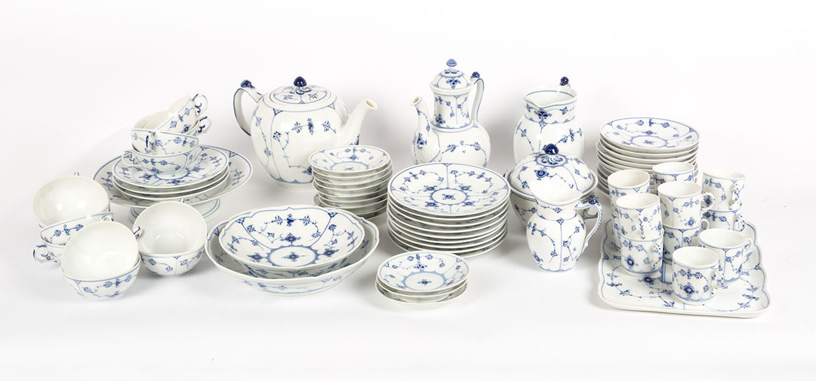 A Royal Copenhagen blue and white tea and coffee service