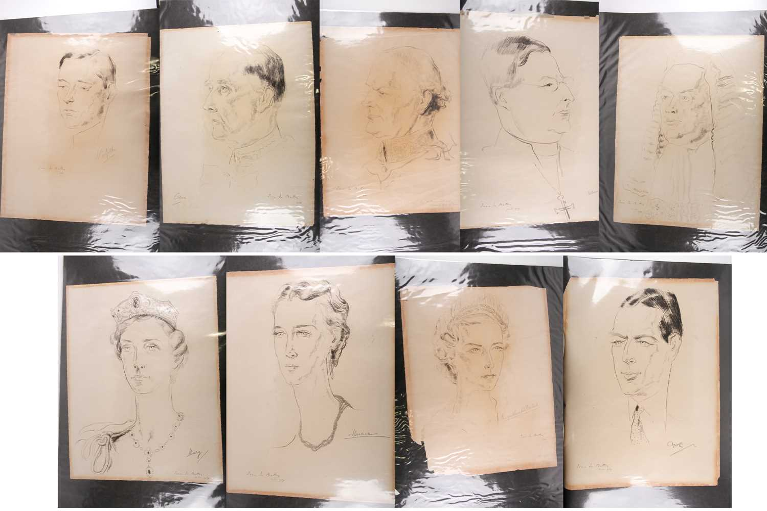 portrait sketches by Jean De Botton for the 1937 Coronation of HM King George VI and Queen Elizabeth