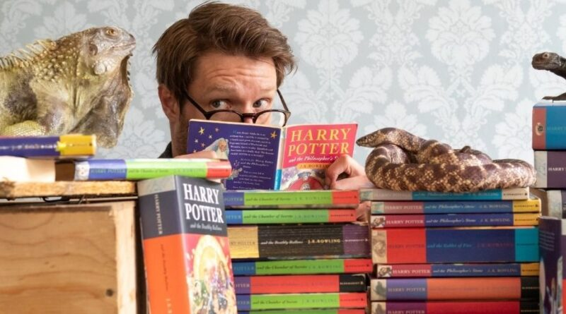 Jim Spencer Book expert at Hansons with selection of Harry Potter books