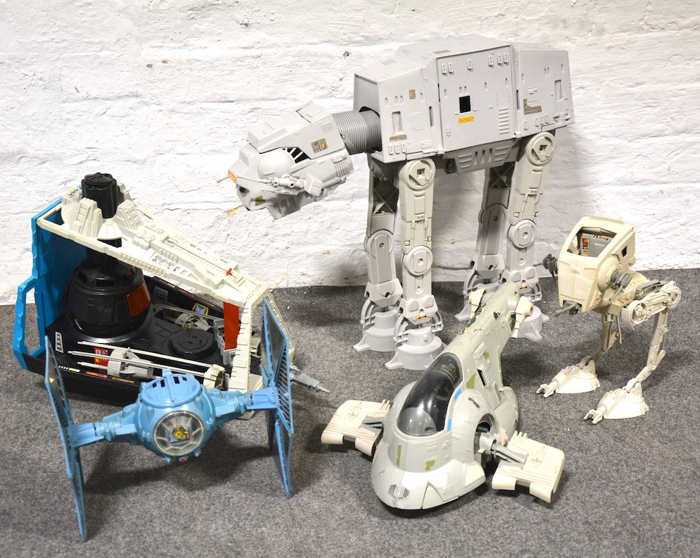 Collection of toy Star Wars vehicles