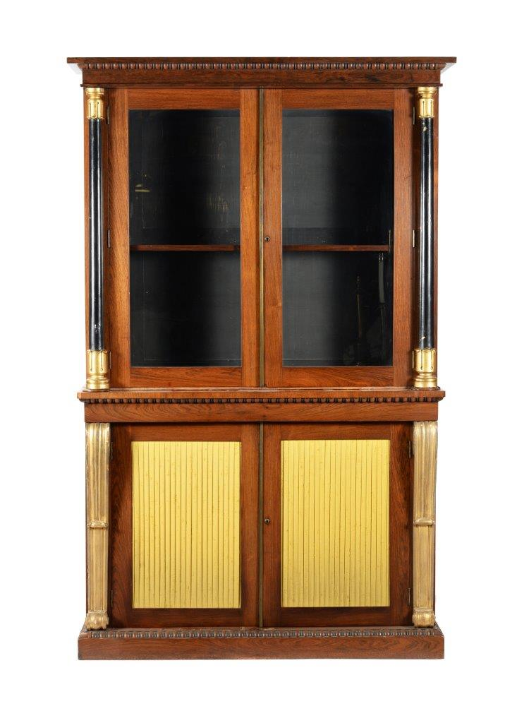 George IV rosewood, ebonised and parcel-gilt library bookcase