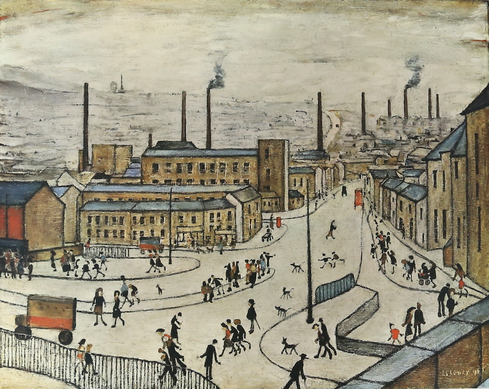 A colour lithograph by perennially popular British artist Laurence Stephen Lowry