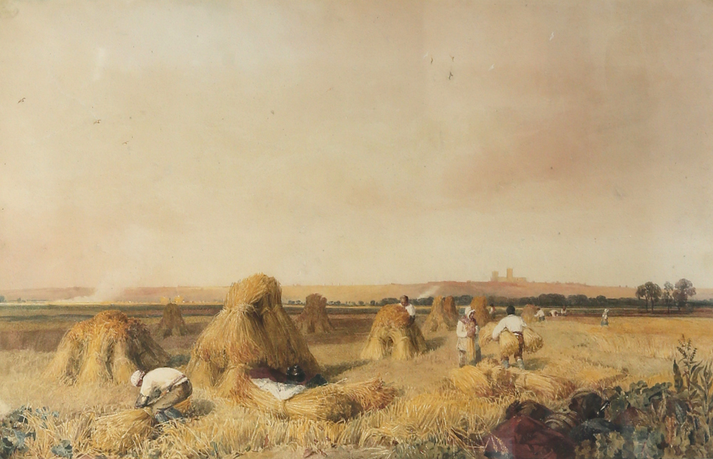 A watercolour by renowned British artist Peter de Wint, entitled Harvesters With A Distant View of Lincoln Cathedral