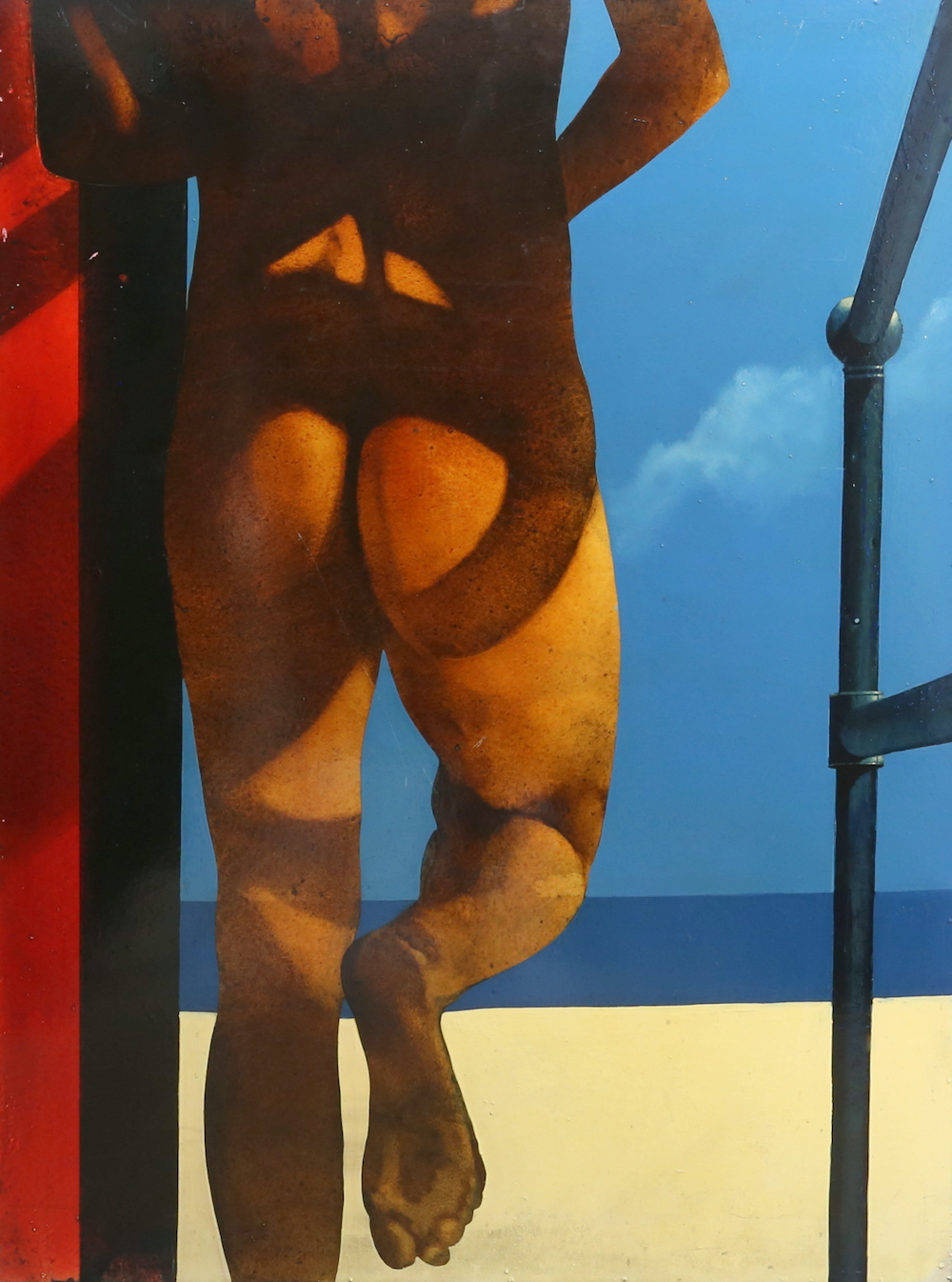 An acrylic on board entitled Early Streaker, part of the Beach Series by British artist Mike Francis
