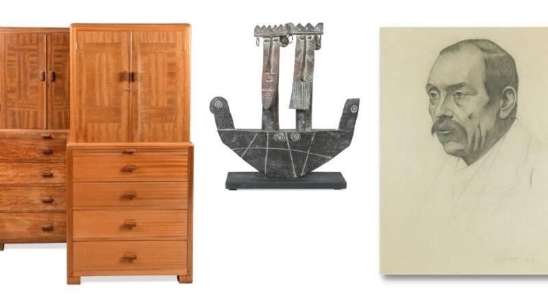 Betty Joel drinks cabinet, John Maltby ceramic and LS Lowry sketch