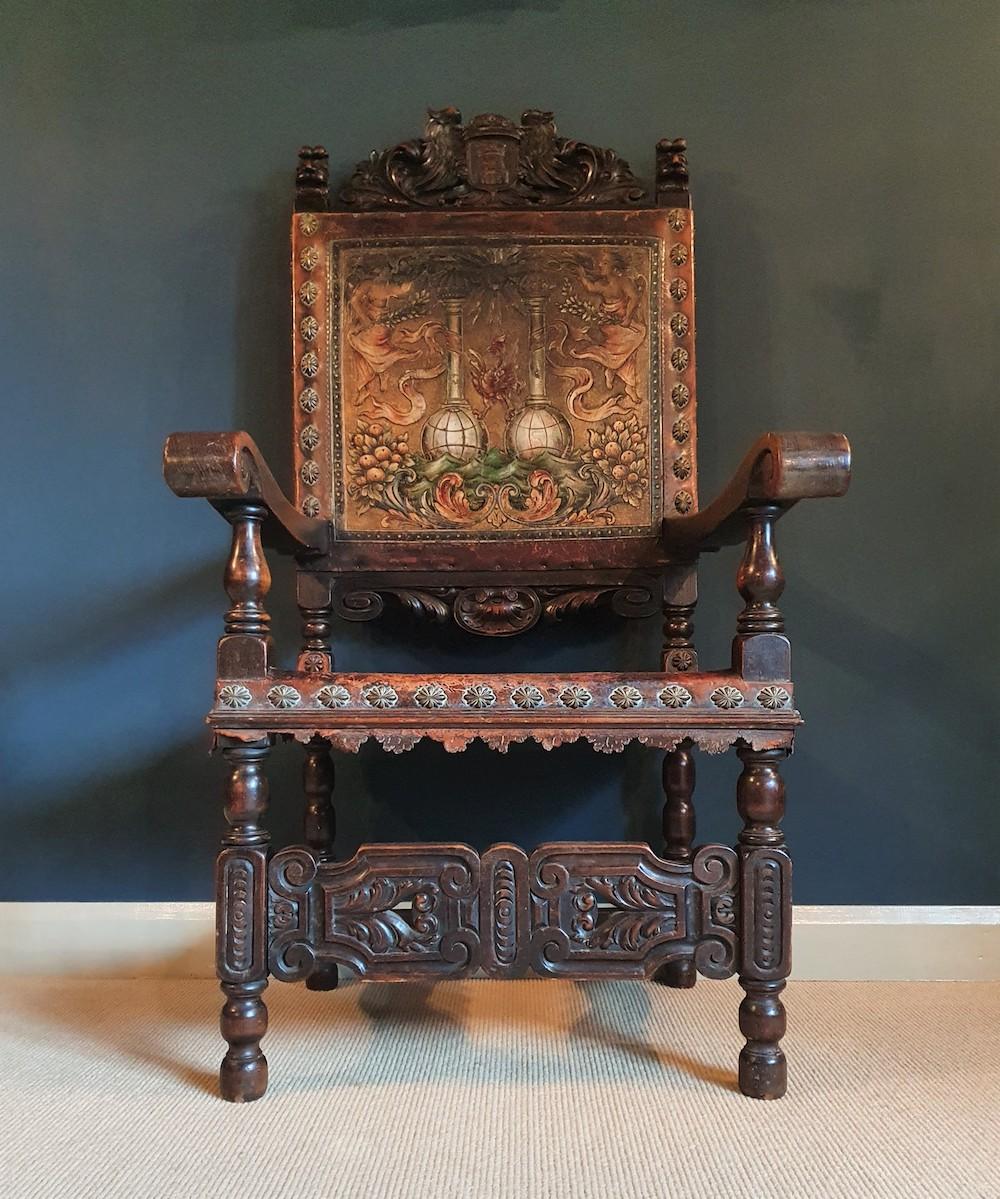 antique Spanish friar's chair