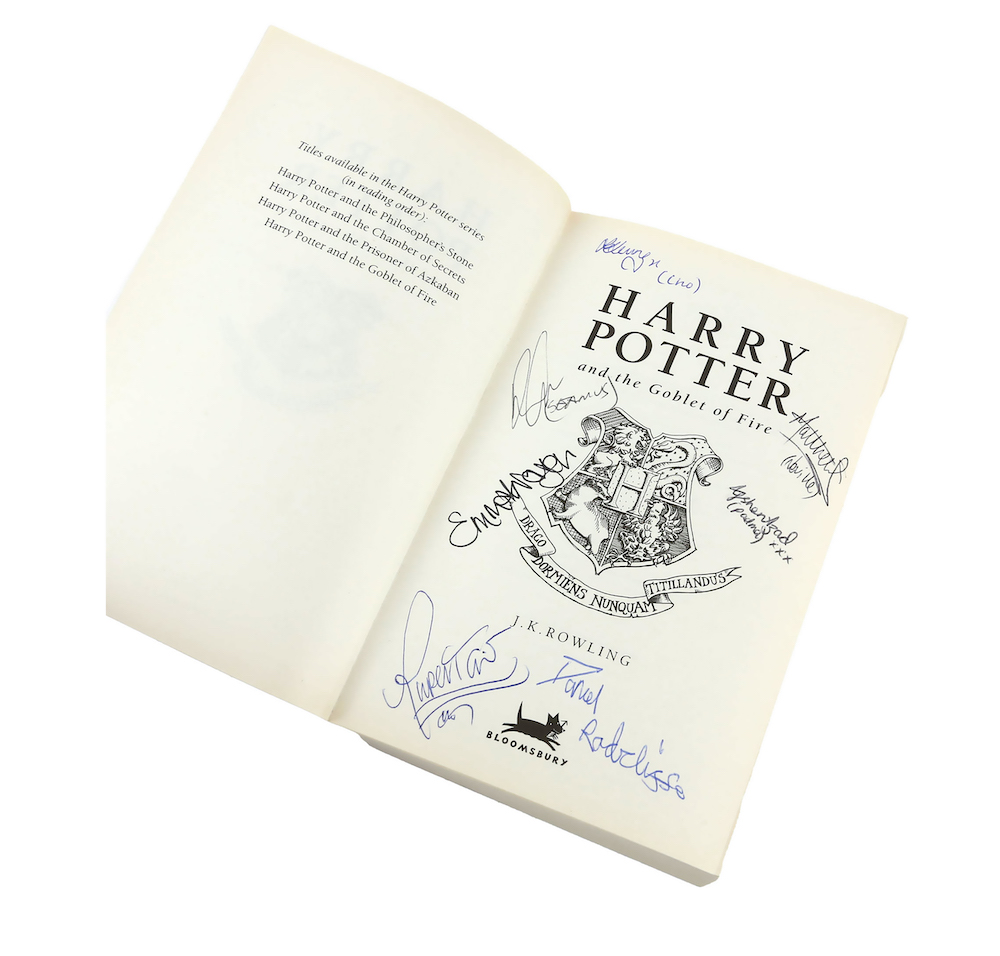 Cast signed copy of Harry Potter and the Goblet of Fire