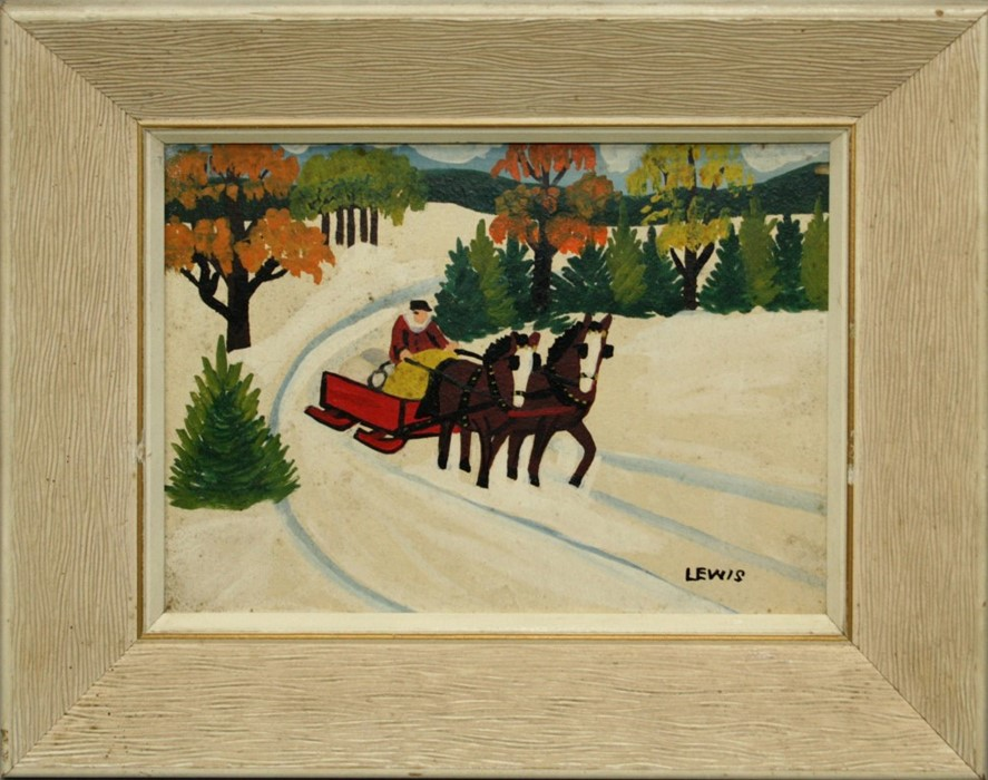 Maud Kathleen Lewis Canadian Figure in a horse drawn sleigh