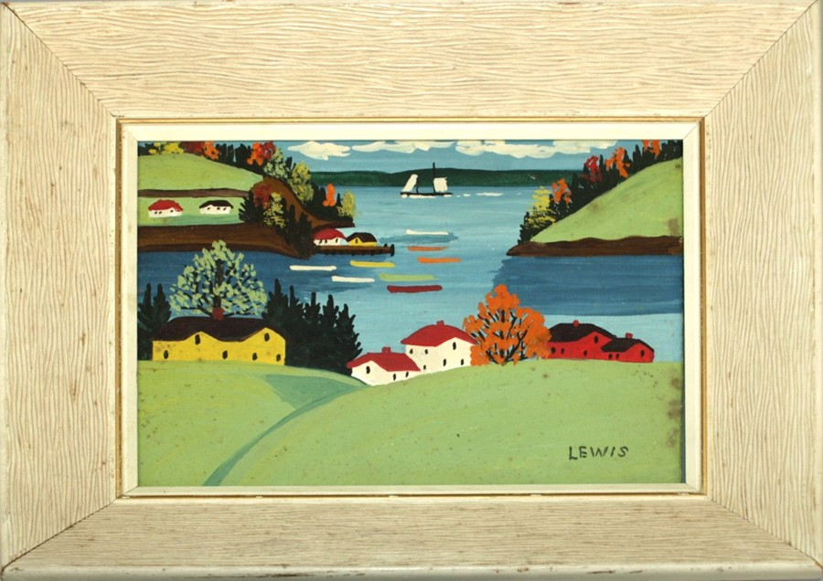 Maud Kathleen Lewis Canadian summer landscape with single boat