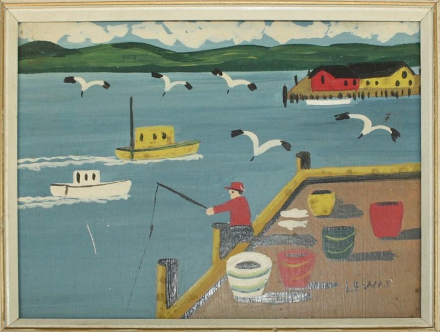 Maud Kathleen Lewis Fisherman seated on harbour wall