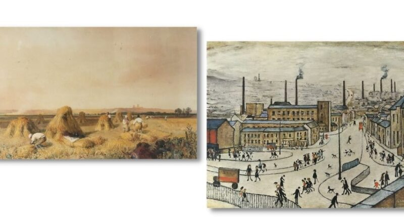 Peter de Wint watercolour and LS Lowry painting