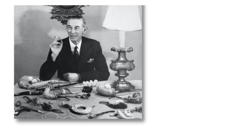 Charles Finch and some of his lifetime's collection of pipes