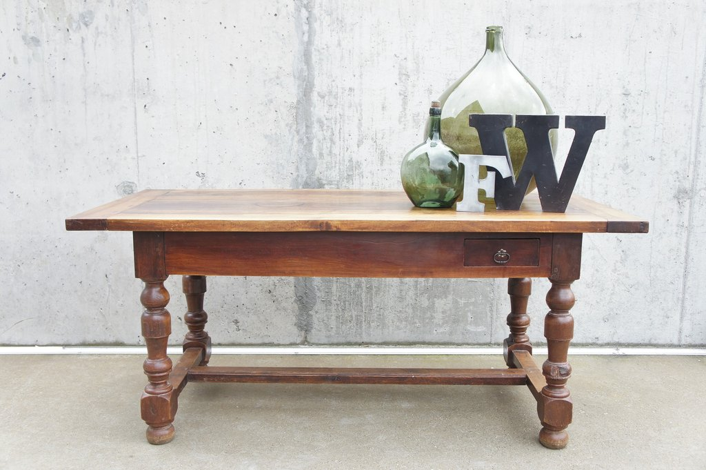 Antique French walnut dining table from Vintage French