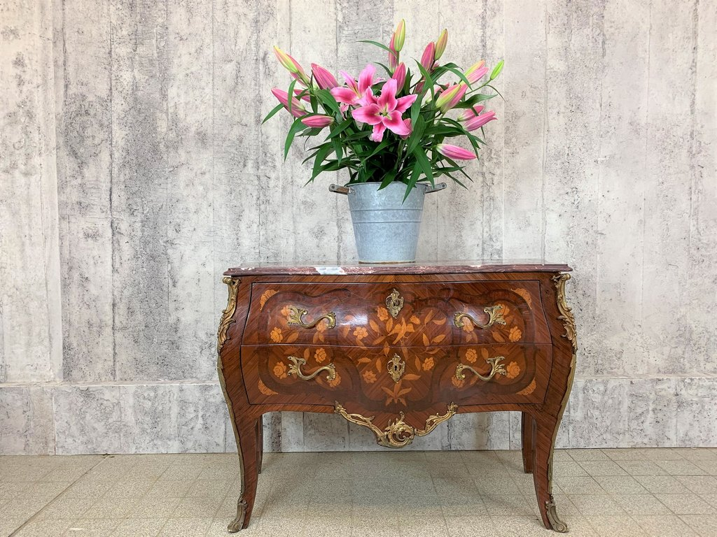 French marquetry bombe chest of drawers