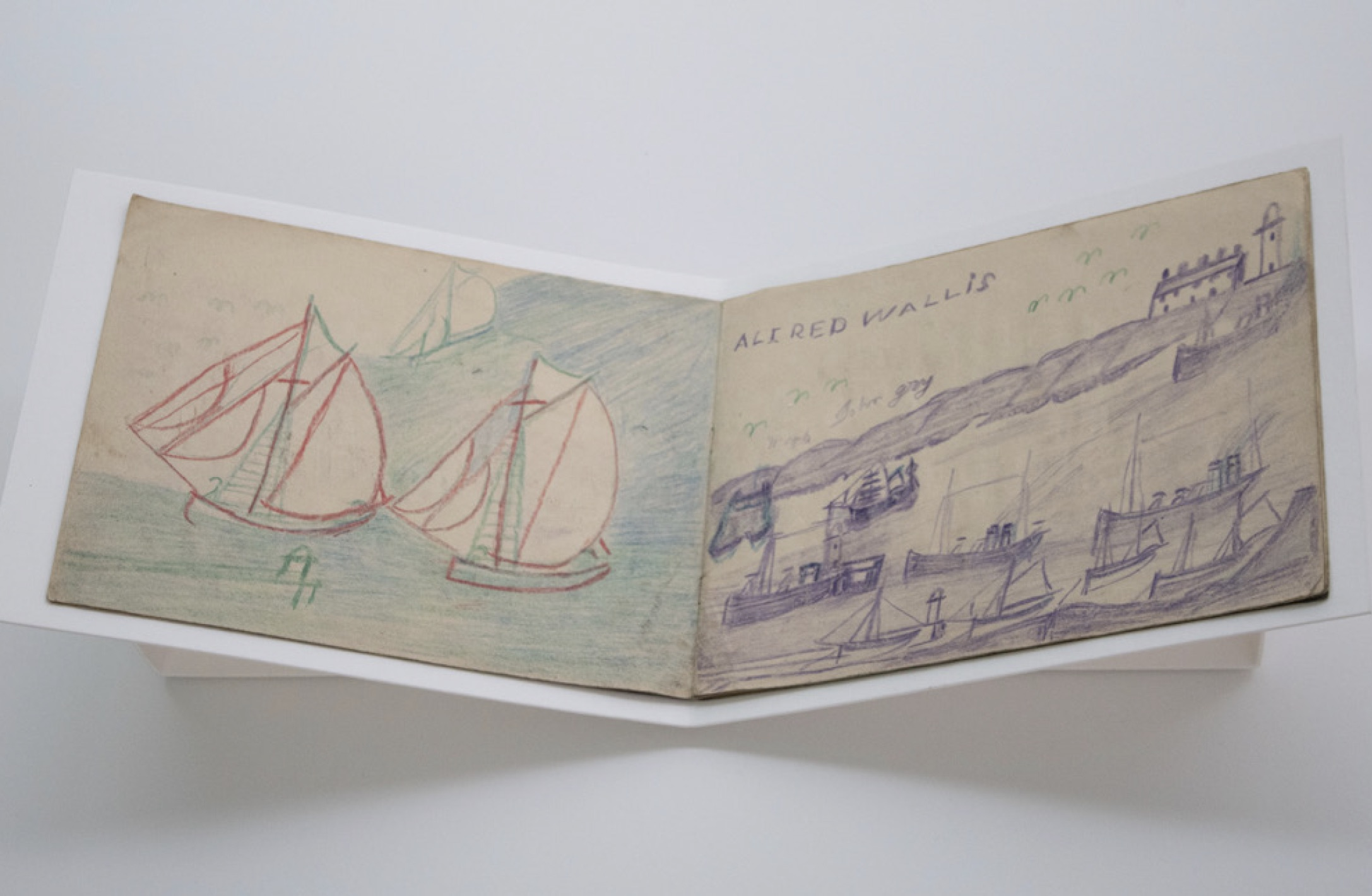 Some pages in Alfred Wallis sketchbooks