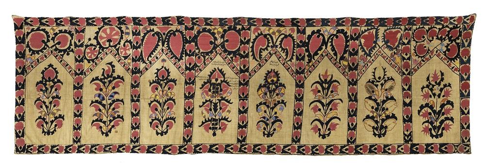 David Sorgato, Suzani saf with multiple prayer niches and embroidered poem, Tashkent, circa 1880