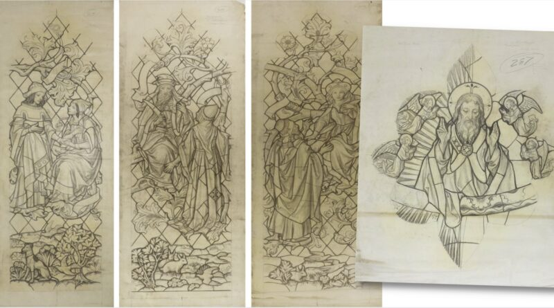 Collection of George Daniels sketches for stained glass windows