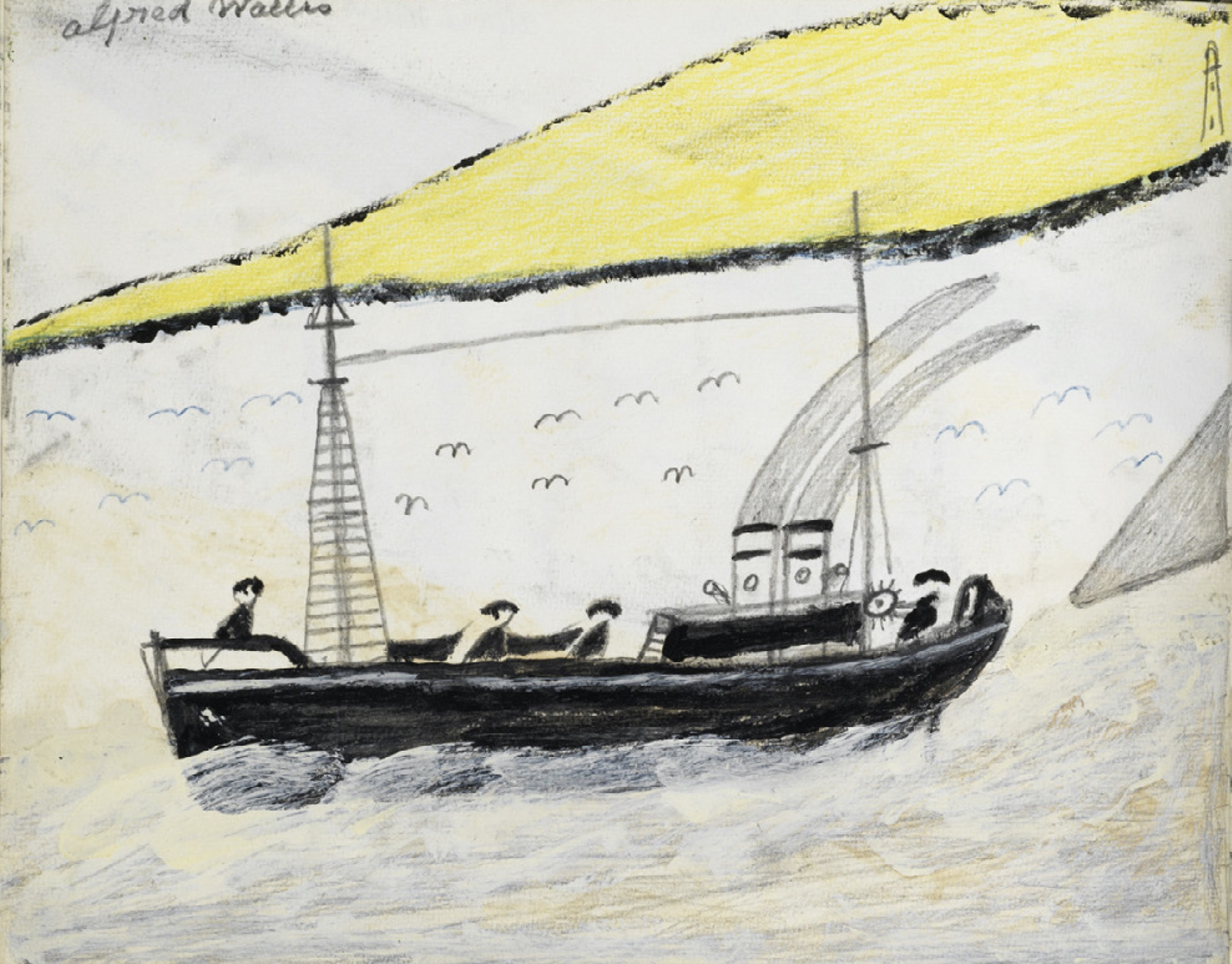 A painting of a boat in Alfred Wallis sketchbooks