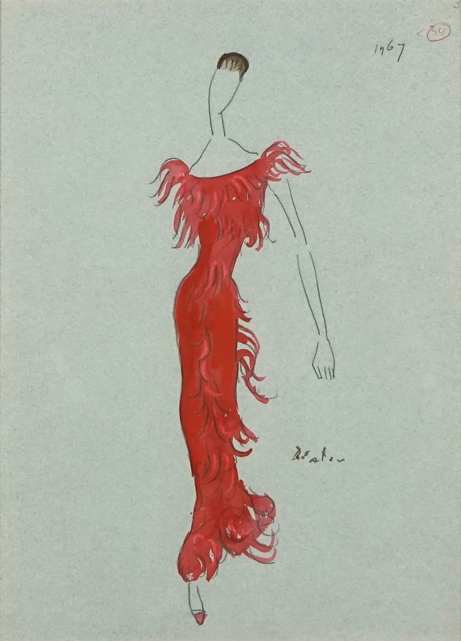 Cecil Beaton design for a red dress