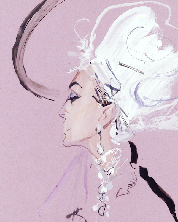 David Downton (1959 - ) Carmen Dior, 2000 Oil Pastel on Coloured Paper with Ink & Gouache Overlay, signed verso