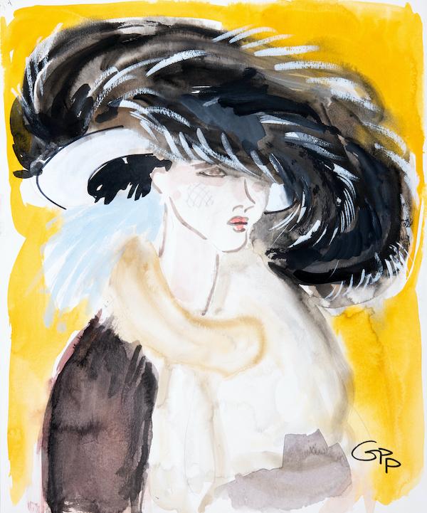 Gladys Perint Palmer (1947 - ) Yohji Yamamoto, 2000 Ink, Watercolour & Gouache on Paper, signed, Sunday Times Style Magazine March 2000, 43 x 35.5 cms