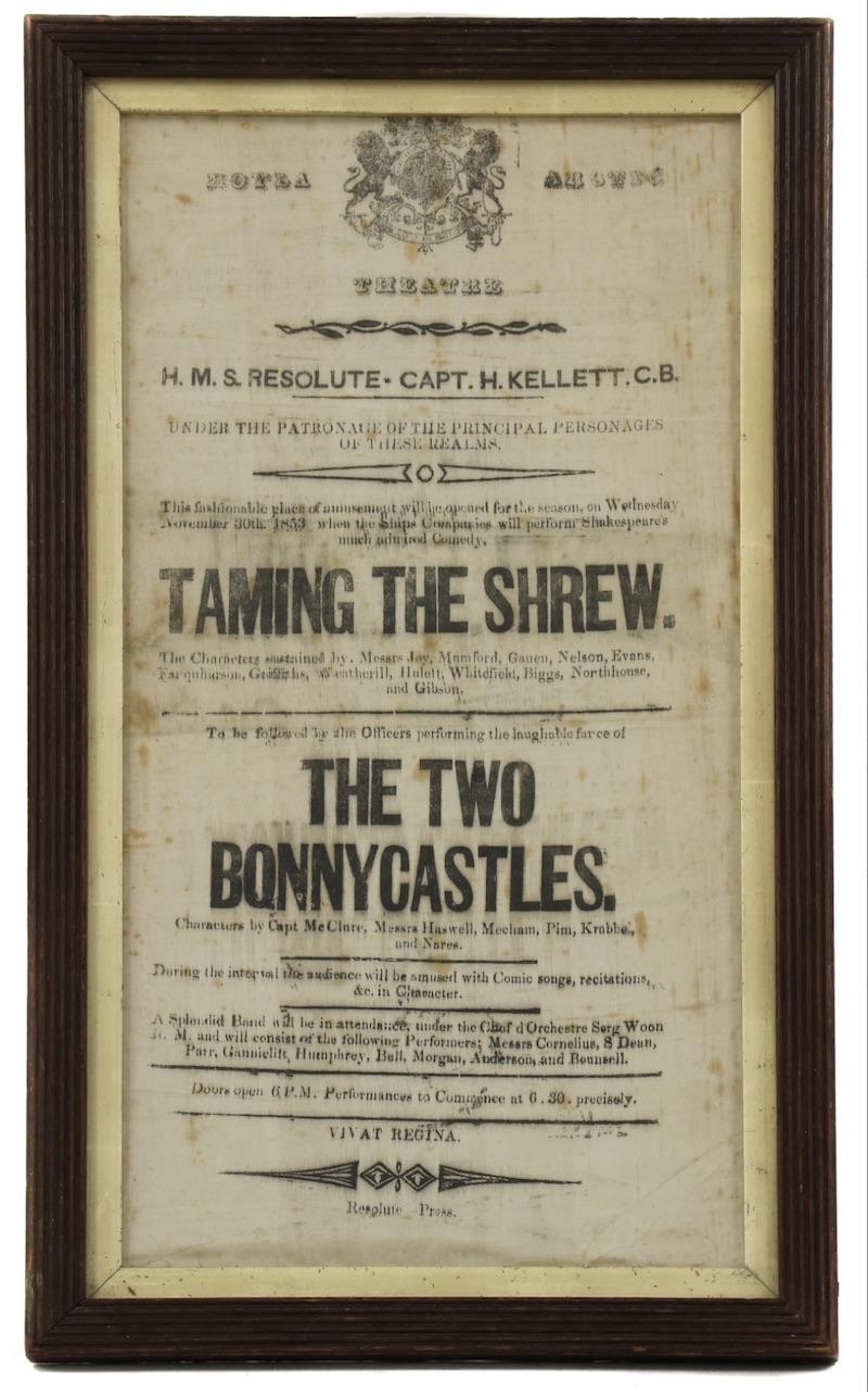 Original HMS Resolute 'Taming of the Shrew' playbill