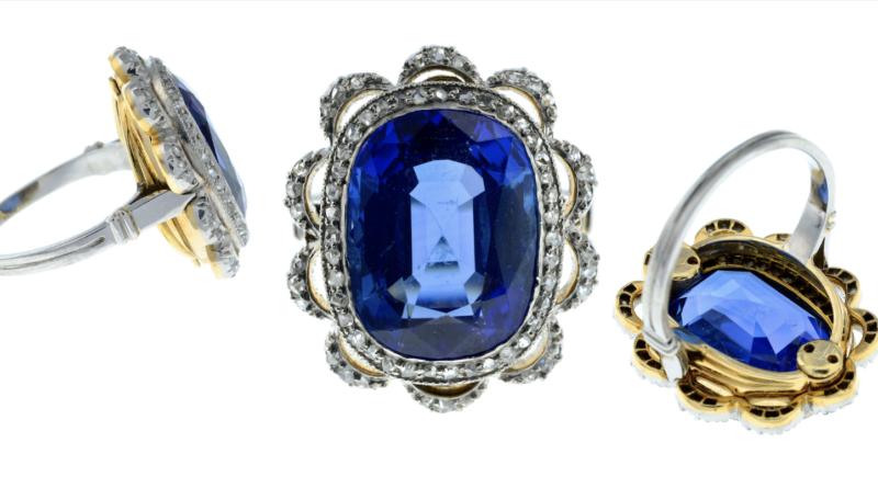 Three views of a Kashmir sapphire ring