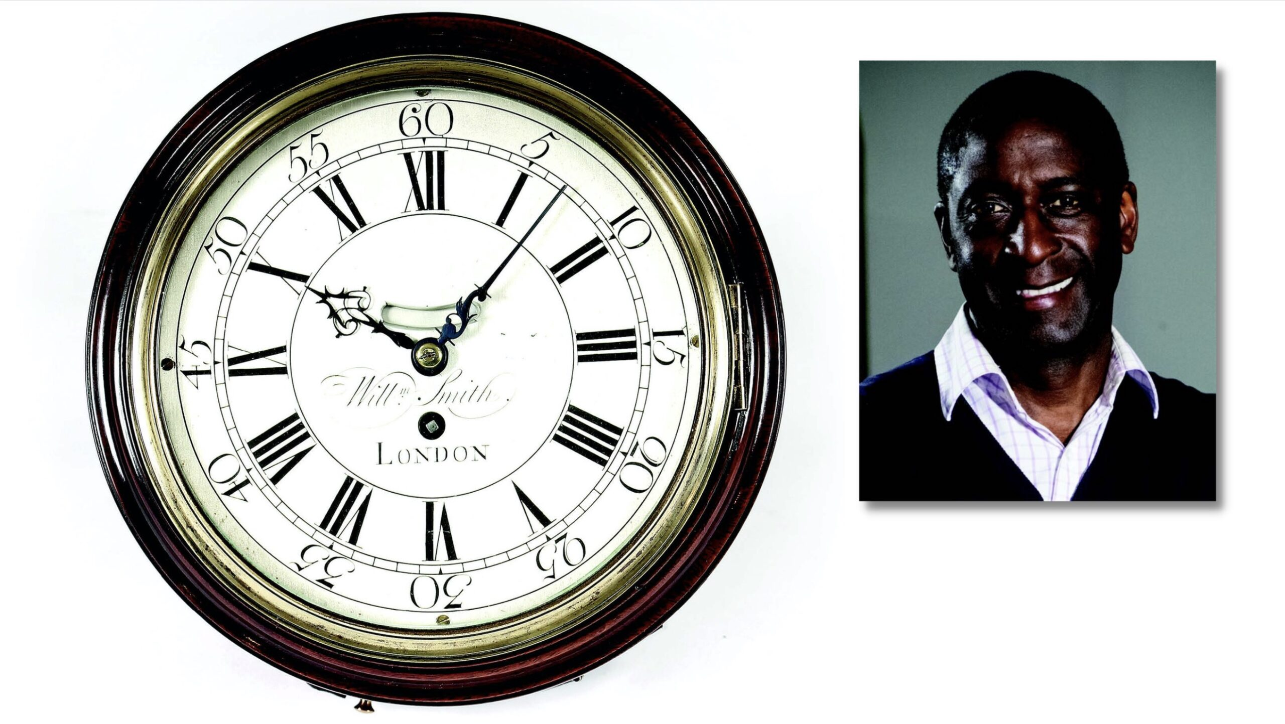 Lennox Cato and antique wall clock