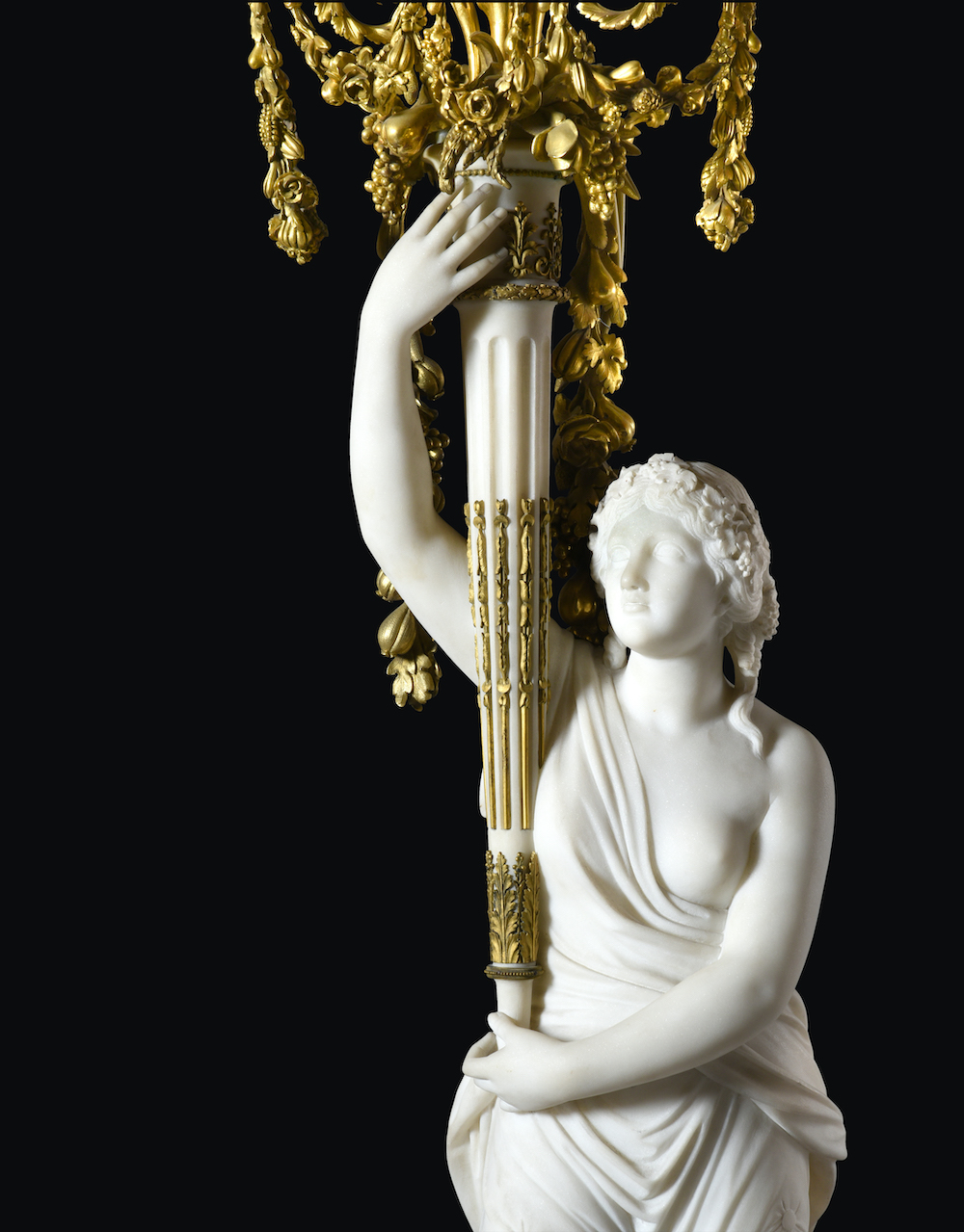 pair of French ormolu-mounted white marble and porphyry candelabra