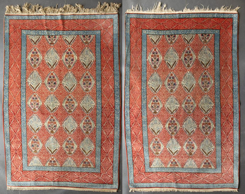 pair of Persian Qum rugs