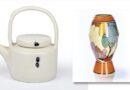 Edmund De Waal studio pottery teapot and Clarice Cliff 'Autumn' shape 365 vase