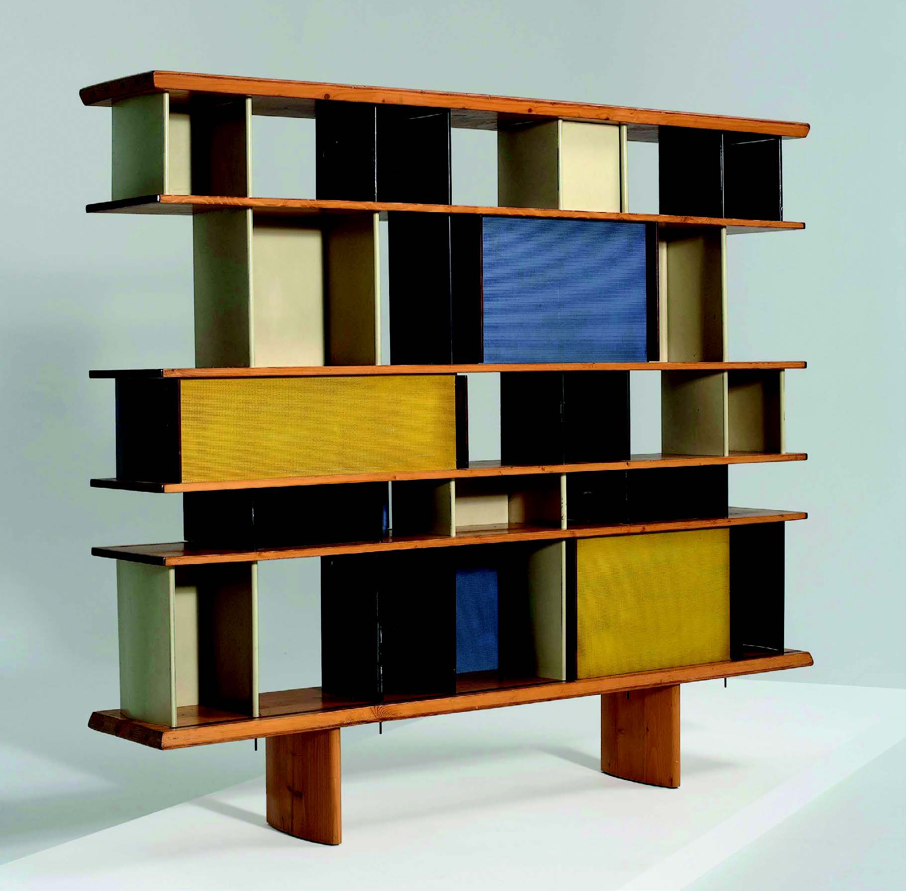 Charlotte Perriand Mexique, 1952, bookcase in pine, aluminium, painted bent steel, walnut, stained wood, for the Maison du Mexique, Cité Universitaire de Paris Sold for £115,000 in 2007. Image courtesy of Phillips