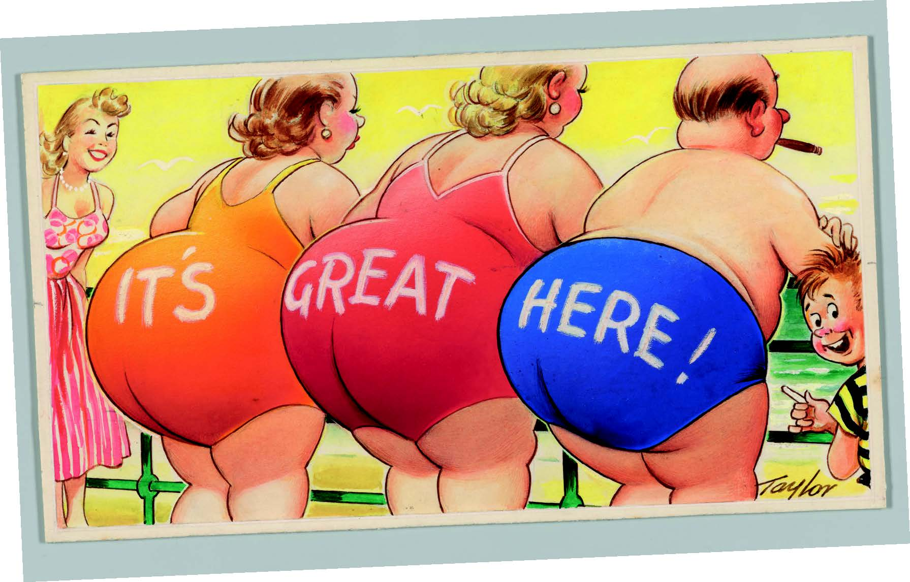 It's Great Here, postcard artwork by Arnold Taylorc.1960-65, © Bamforth & Co